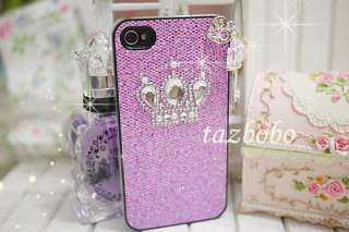key2)Crown Purple Bling Hard Case Cover iPhone 4 4G