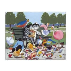 Cat Feeding Birds, Cats & Kittens Note Card by Bernard