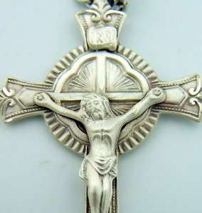 Gothic Ribbed Sterling Silver Bishop Pectoral Cross Crucifix Necklace