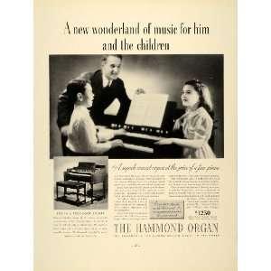 1937 Ad Hammond Organ Keyboard Piano Children Playing