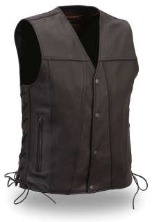 Mens Black Leather Biker Motorcycle Vest w Side Lace Single Pack Panel