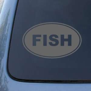 FISH EURO OVAL   Fishing   Vinyl Car Decal Sticker #1705  Vinyl Color