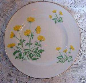 CROWN STERLING Yellow Flowers Bone China Plate  England