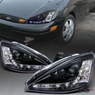 00 04 FORD FOCUS BLK R8 STYLE LED PROJECTOR HEAD LIGHTS
