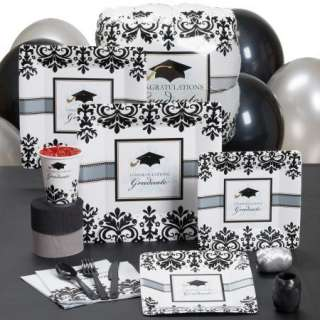 BLACK WHITE GRAD GRADUATION PARTY PACK BALLOONS PLATES UTENSILS