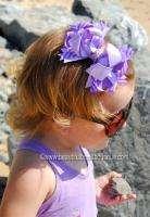 Dainty Lavendar Stripe Boutique Hair Bow Baby Toddler
