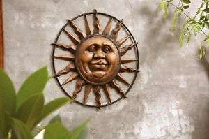 Jolly Sun Face Outdoor Wall Mount Plaque Aluminum