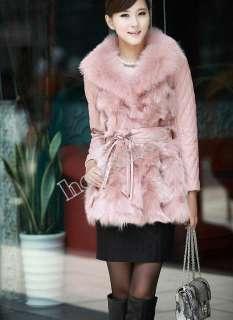 2012 Womens Fox Fur coat sheep leather Winter Fashion Warm Coat Jacket
