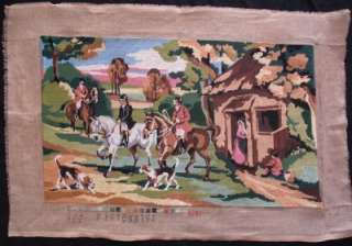 vintage completed needlepoint fox hunting . Beagle dogs