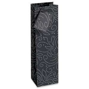 Swirl Recycled Paper Wine Bottle Black Gift Bag