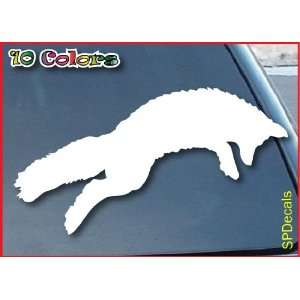 Jumping Fox Car Window Vinyl Decal Sticker 11 Wide (Color White)