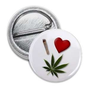 I HEART WEED Marijuana Pot Leaf 1 inch Mini Pinback Button