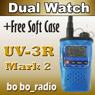BLUE BAOFENG UV 3R (II) Dual Band Radio Free BLUE SoftCASE