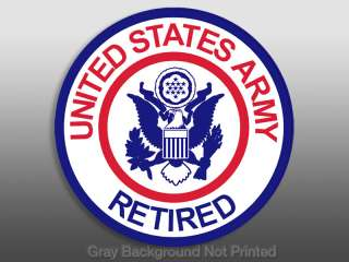 Round US Army RETIRED Sticker  decal logo seal u.s. usa
