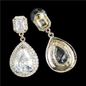 Chic Drop Pierced Chandelier Earring Swarovski Crystal Clear Dangle