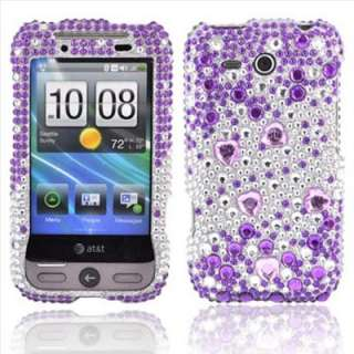 Purple Heart Bling Case Cover for HTC Freestyle +Screen