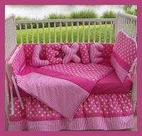 New crib bedding set PINK POLKA DOTS STRIPES fabric
