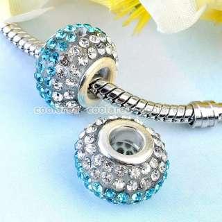 10/20pc Colorful Crystal Rhinestone Resin European Big Hole Beads