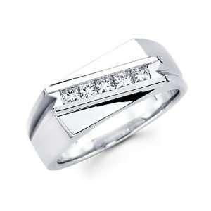 Size  12.5   Princess Cut Channel Set 14k White Gold Mens Diamond Ring