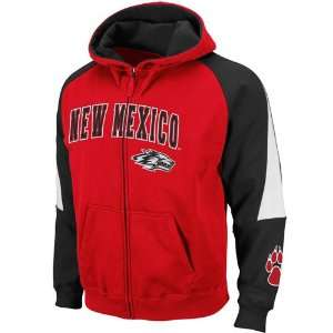 New Mexico Lobos Red Black Playmaker Full Zip Hoodie Sweatshirt (Large