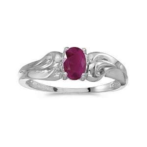 10k White Gold Oval Ruby Ring (Size 7) Jewelry
