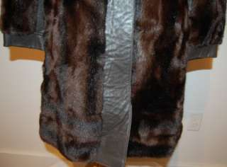 Lilli Ann GLAMOROUS FAUX FUR & LEATHER LONG COAT JACKET S   Chocolate