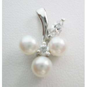 Freshwater Pearl Pendant on Sterling Silver White Gold Plated Bail