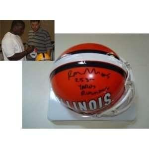 Rashard Mendenhall Illinois Autographed/Hand Signed Mini Helmet Yards