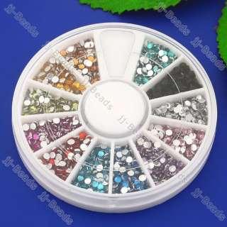 1200pcs 2mm Nail Art Gems Colorful Acrylic Rhinestone Round