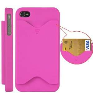 Credit Card Matte Hard Case Cover For iPhone 4 and 4S MAGENTA