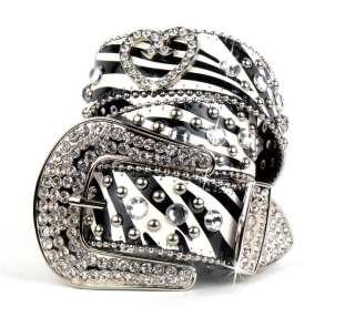 Western Zebra Leather Rhinestone Crystal Heart Belt M/L