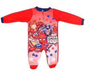 NWT SPIDERMAN IRON MAN LONG SLEEVE ZIP UP FOOTED PAJAMAS 0/3 3/6 6/9