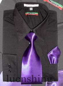 Mens Black Shirt & Purple Tie 15 32/33 M