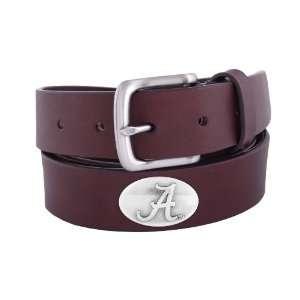 NCAA Alabama Crimson Tide Brown Leather Concho Belt, 36