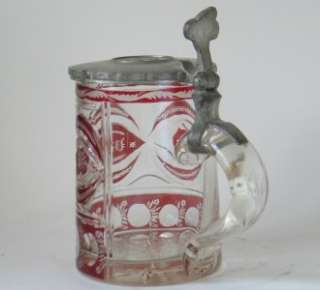 Glass Ruby Red Gilded Enameled Beer Stein c.1860s