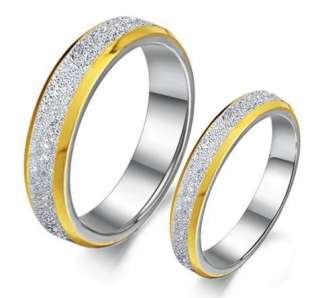 Classic Titanium Steel Promise Rings Couple Wedding Bands Gold Shine