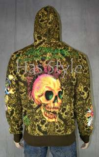 Christian Audigier ED HARDY ARMY Tattoo Cross Jacket Hoodie L punk
