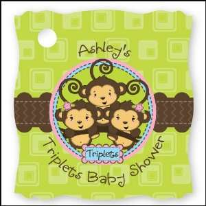 Triplet Monkeys 2 Girls & 1 Boy   20 Personalized Baby Shower Die Cut