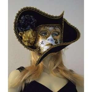 Lady Ladies Pirate Hat Fancy Black & Gold Mardi Gras Halloween Costume