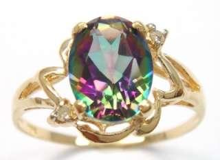 10KT YELLOW GOLD NATURAL MYSTIC TOPAZ & DIAMOND RING #7