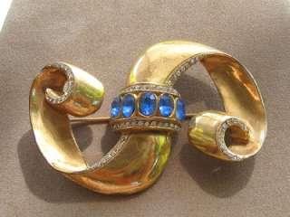 Vtg Art Deco Sapphire Rhinestone Ribbon Brooch Pin