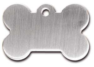 Engraved ID Name Tag Bone Shaped Chrome Plated Steel