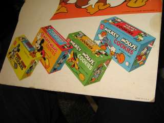 DISNEY Nabisco 40s Mickey Mouse Donald Duck cookie box store display