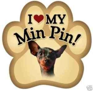 Paw Print I LOVE MY MIN PIN car magnet QUALITY