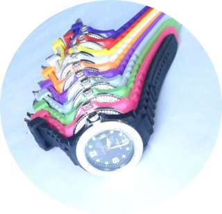 Date Calendar Double Rhinestone Silicone Rubber Jelly Wrist Watch 10