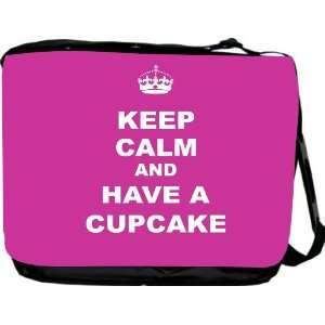 Keep Calm and have a Cupcake   Pink Rose Messenger Bag   Book