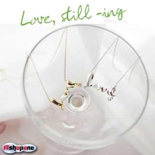 Fashion Golden Silver Rhinestone Love letter Twist Pearl Pendant