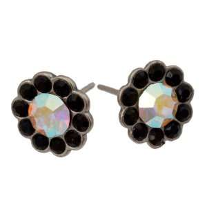 Michal Negrin Silver Coating Flower Earrings with Black