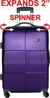 24 Spinner Expandable ABS Luggage Flexible Hard Shell New L@@K PURPLE