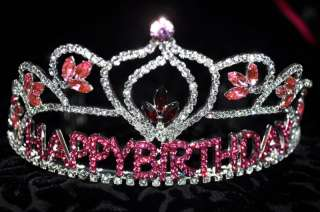Pink happy birthday Party Crystal Crown Headband girl one size fit all